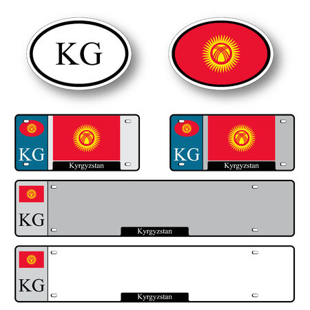 kyrgyzstan auto set against white background, abstract vector art illustration, image contains transparency 일러스트