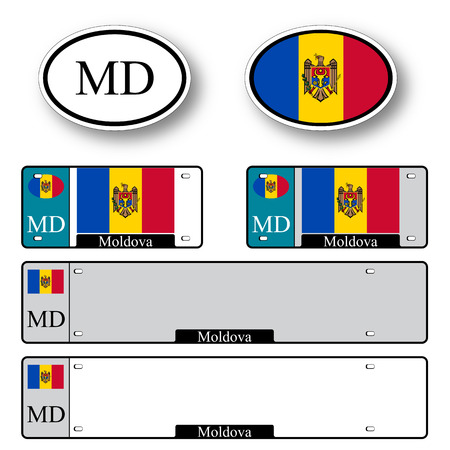 moldova auto set against white background, abstract vector art illustration, image contains transparency