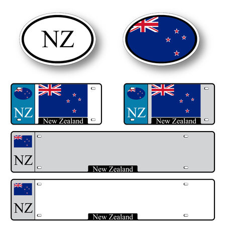 licence: new zealand auto set against white background, abstract vector art illustration, image contains transparency Illustration