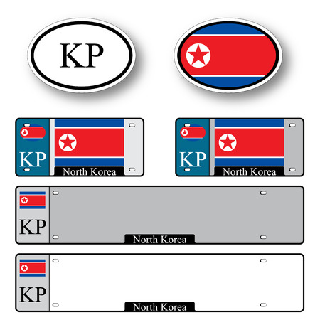 licence: north korea auto set against white background, abstract vector art illustration, image contains transparency