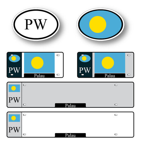 licence: palau auto set against white background, abstract vector art illustration, image contains transparency Illustration