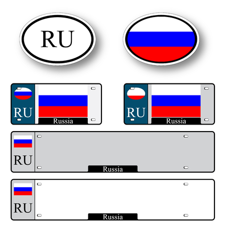 licence: russian federation auto set against white background, abstract vector art illustration, image contains transparency