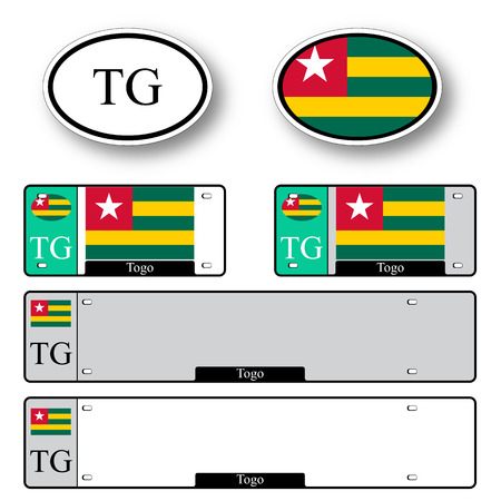 licence: togo auto set against white background, abstract vector art illustration, image contains transparency