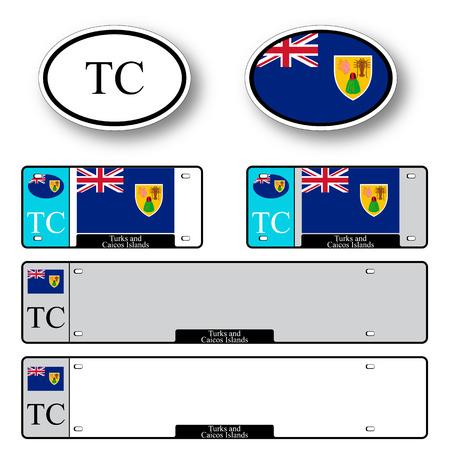 turks: Islas Turcas y Caicos auto fij� contra el fondo blanco, ilustraci�n vectorial arte abstracto, la imagen contiene transparencias
