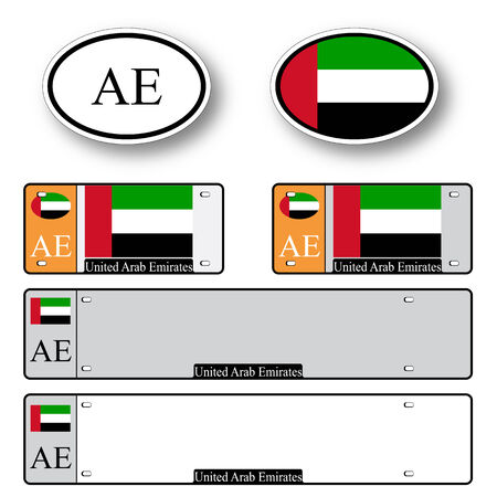 united arab emirates auto set against white background, abstract vector art illustration, image contains transparency