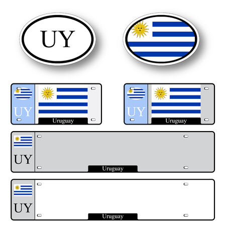 licence: uruguay auto set against white background, abstract vector art illustration, image contains transparency Illustration