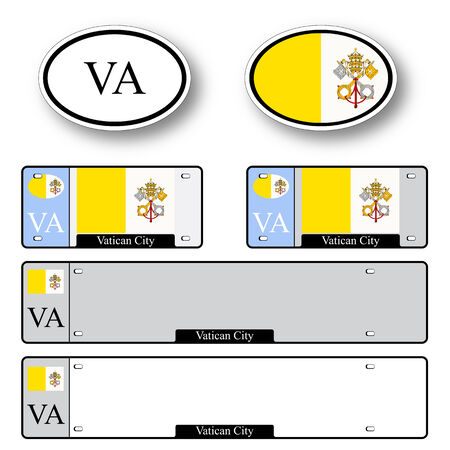 licence: vatican city auto set against white background, abstract vector art illustration, image contains transparency Illustration