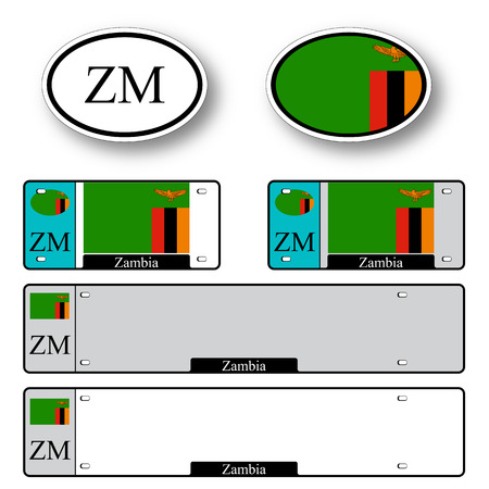 licence: zambia auto set against white background, abstract vector art illustration, image contains transparency