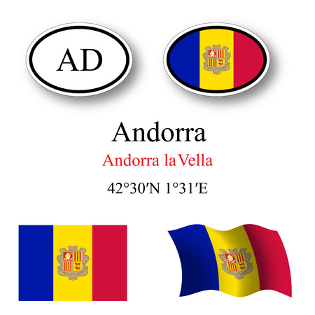 andorra: andorra flags and icons set over white background, abstract vector art illustration, image contains transparency