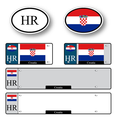 licence: croatia auto set against white background, abstract vector art illustration, image contains transparency
