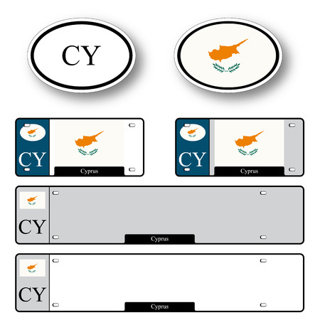 cyprus auto set against white background, abstract vector art illustration, image contains transparency
