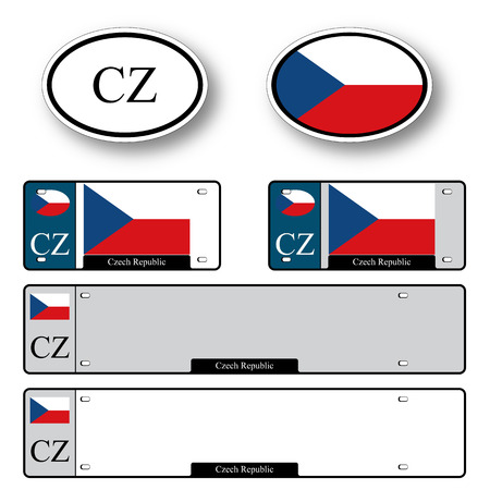 czech republic auto set against white background, abstract vector art illustration, image contains transparency
