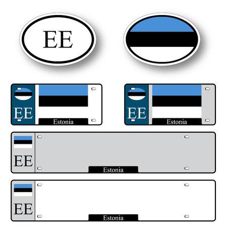 エストニア自動セット抽象的なベクトル アート イラスト白背景画像の透明部分を含む  イラスト・ベクター素材