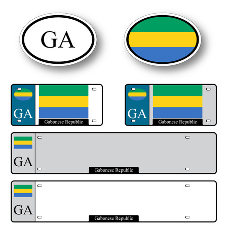 licence: gabonese republic auto set against white background, abstract vector art illustration, image contains transparency