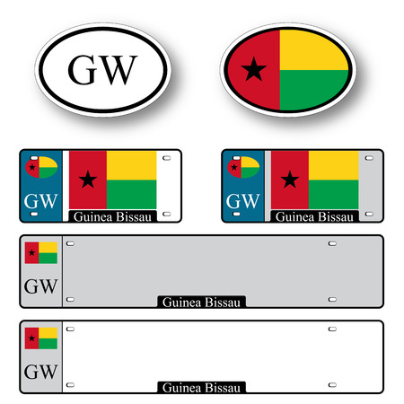 licence: guinea bissau auto set against white background, abstract vector art illustration, image contains transparency