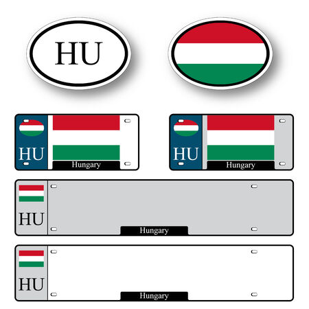 hungary auto set against white background, abstract vector art illustration, image contains transparency