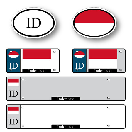 indonesia auto set against white background, abstract vector art illustration, image contains transparency Illustration