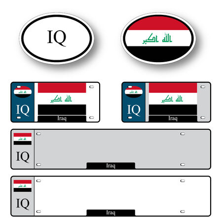 licence: iraq auto set against white background, abstract vector art illustration, image contains transparency Illustration