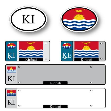 kiribati: kiribati auto set against white background, abstract vector art illustration, image contains transparency
