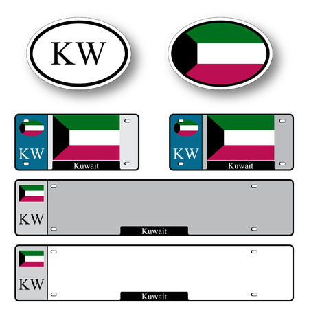 licence: kuwait auto set against white background, abstract vector art illustration, image contains transparency Illustration