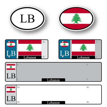 licence: lebanon auto set against white background, abstract vector art illustration, image contains transparency Illustration