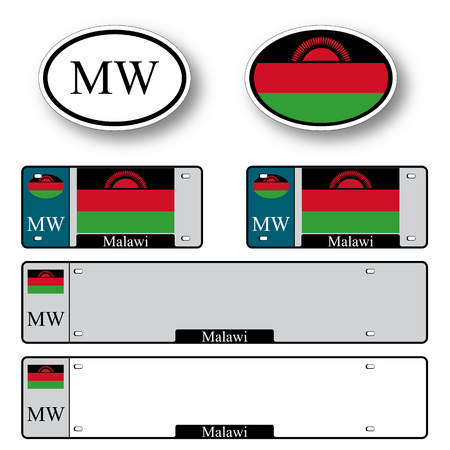 licence: malawi auto set against white background, abstract vector art illustration, image contains transparency