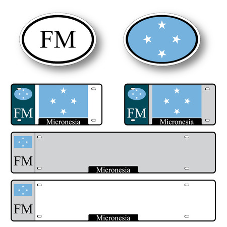 licence: micronesia auto set against white background, abstract vector art illustration, image contains transparency