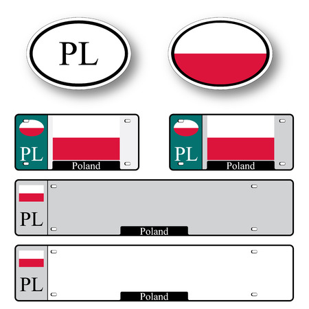 licence: poland auto set against white background, abstract vector art illustration, image contains transparency