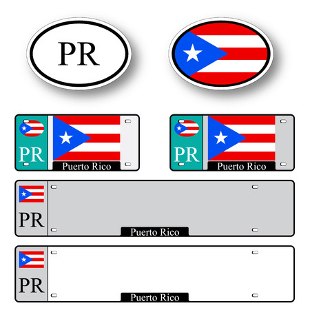 licence: puerto rico auto set against white background, abstract vector art illustration, image contains transparency Illustration