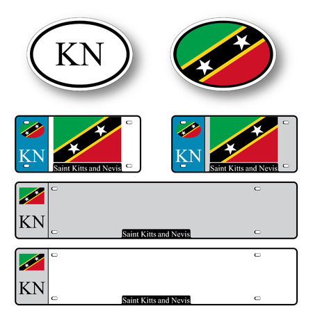 licence: saint kitts and nevis auto set against white background, abstract vector art illustration, image contains transparency Illustration