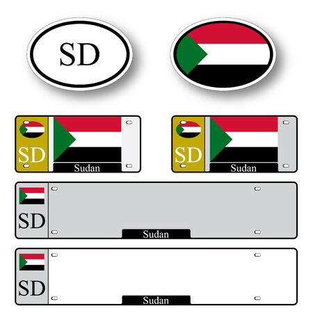 sudan auto set against white background, abstract vector art illustration, image contains transparency