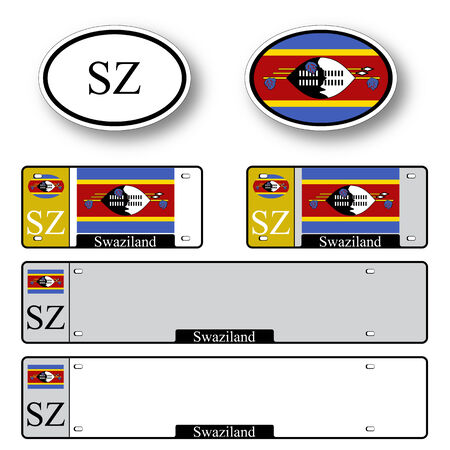 licence: swaziland auto set against white background, abstract vector art illustration, image contains transparency
