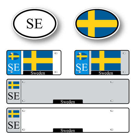 licence: sweden auto set against white background, abstract vector art illustration, image contains transparency