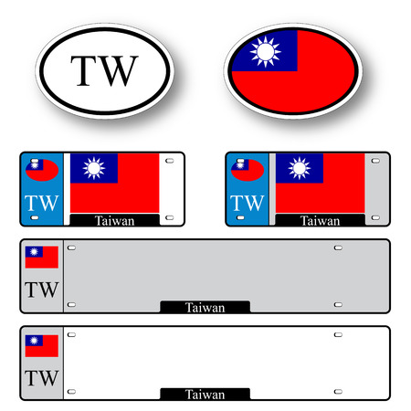 taiwan auto set against white background, abstract vector art illustration, image contains transparency