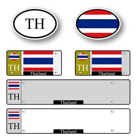 タイ自動セット抽象的なベクトル アートの図は、白い背景イメージを含む透明性