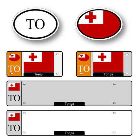 licence: tonga auto set against white background, abstract vector art illustration, image contains transparency