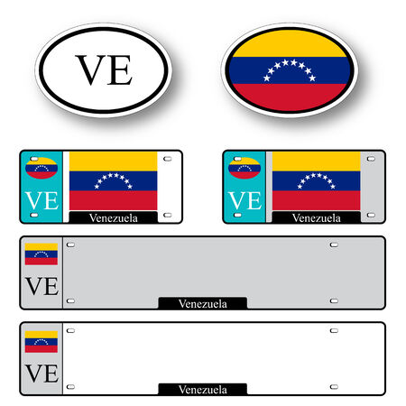 licence: venezuela auto set against white background, abstract vector art illustration, image contains transparency