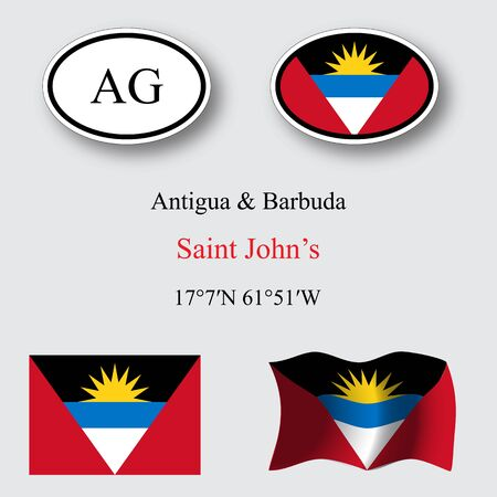 licence: Antigua and Barbuda icons set against gray background