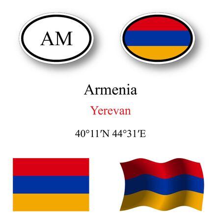 yerevan: Armenia icons set against white background