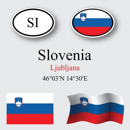 slovenia icons set against gray background abstract vector art illustration image contains transparency Illustration