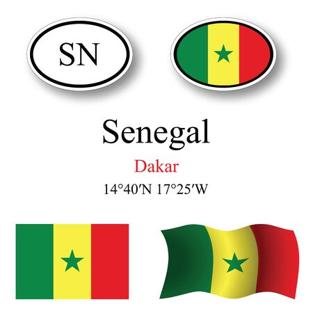 dakar: senegal icons set against white background abstract vector art illustration image contains transparency