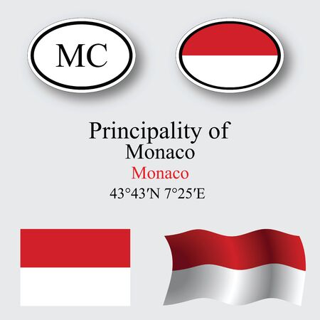 monaco icons set against gray background abstract vector art illustration image contains transparency Vector