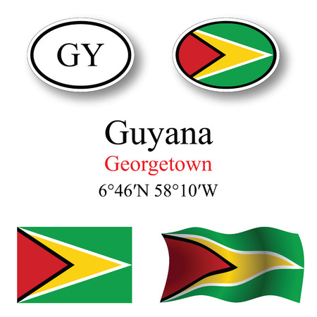 georgetown: guyana icons set against white background abstract vector art illustration image contains transparency Illustration