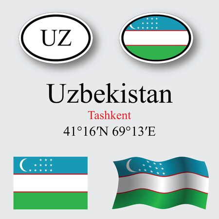 licence: uzbekistan icons set against gray background abstract vector art illustration image contains transparency Illustration