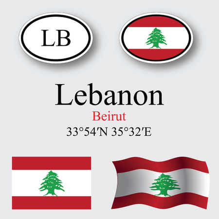 beirut: lebanon icons set against gray background abstract vector art illustration image contains transparency