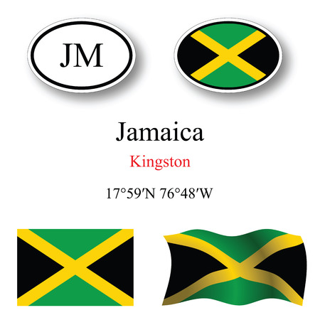 kingston: jamaica icons set against white background abstract vector art illustration image contains transparency