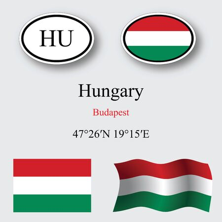 licence: hungary icons set against gray background abstract vector art illustration image contains transparency