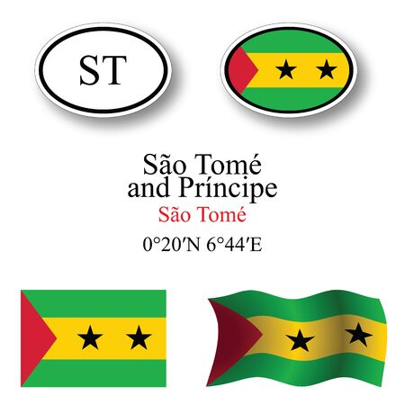 licence: sao tome and principe icons set against white background abstract vector art illustration image contains transparency