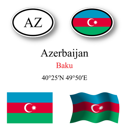 licence: azerbaijan icons set against white background, abstract vector art illustration, image contains transparency Illustration
