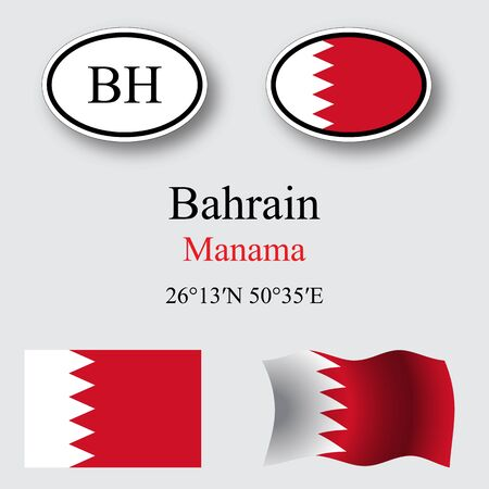licence: bahrain icons set against gray background, abstract vector art illustration, image contains transparency